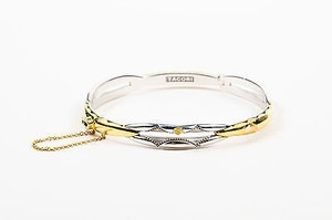 Tacori Tacori Sterling Silver 18k Gold Promise Lock Key Bangle Bracelet