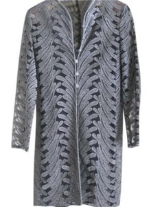 Victor Costa Top Black sheer jacket with silver embroidery