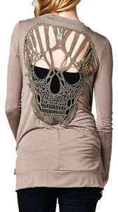 Other Backless Skull Crochet Long Sleeve T Shirt Khaki