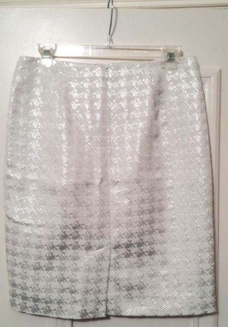 Premise Houndstooth Pencil Career Skirt White, Silver Image 1