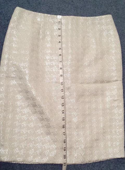 Premise Houndstooth Pencil Career Skirt White, Silver Image 3