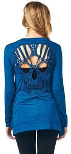 Other Backless Skull Crochet Long Sleeve T Shirt Blue
