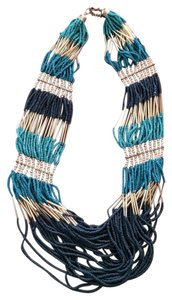 Turquoise Navy Gold Seed Bead Necklace