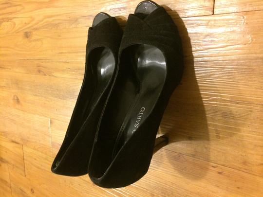 Franco Sarto Peep Toe Suede Heels Black Pumps