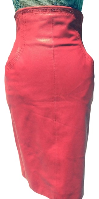 Item - Red Leather Pencil Skirt Size 4 (S, 27)