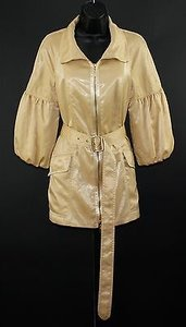 Worth Gold Shimmer Balloon Sleeve Belted B35 Jacket