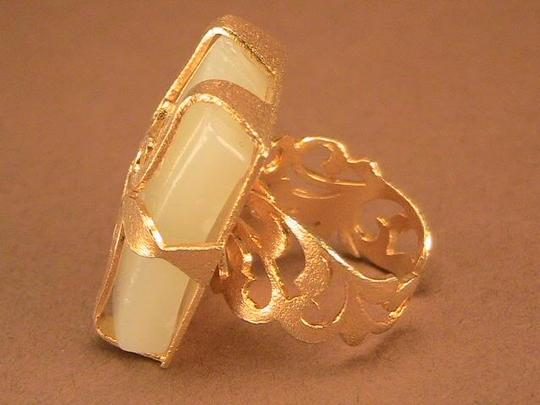 Other 18k Gold Plated Lemon Quartz Hand Carved Statement Ring