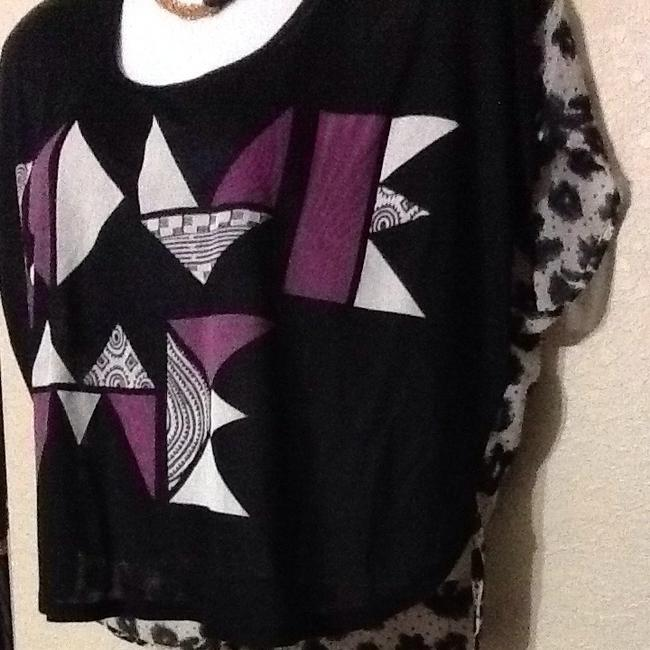 Charlotte Russe Top Black, Grey, Fuchsia, White Front / Black & White Leopard Back