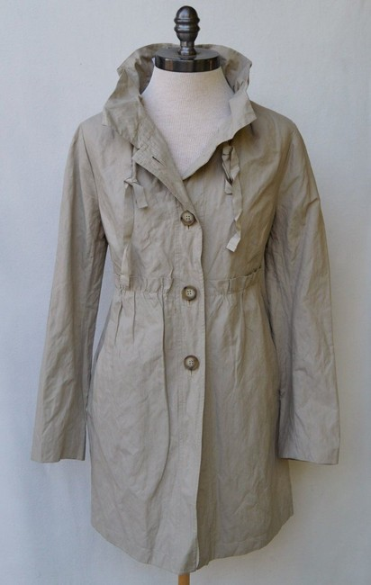 Ann Taylor LOFT Trench Ruffle Lightweight Water-resistant Trench Coat