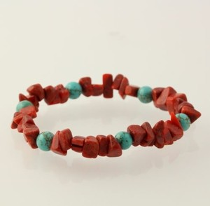 Beaded Bracelet Sponge Coral Dyed Howlite Red Blue Stone Beads Stretch Band