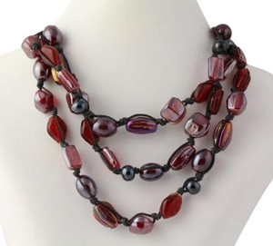 Beaded Necklace - Silver Clasp Black Cord Red Black Glass Beads 3-strand
