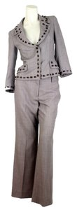 Genny Ladies Genny Brown Suit Womens Wool Blend Petite Pantsuit Size 38