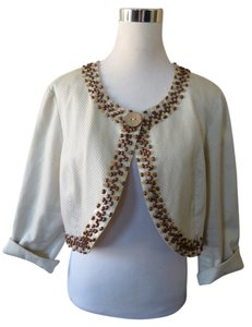 Kensie Crop Wooden Beads Wood Button Ivory Blazer