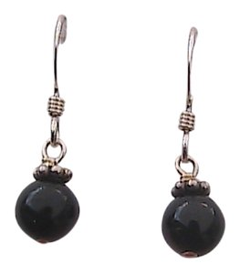 Other Sterling Silver Black Onyx Dangle Earrings (A5)