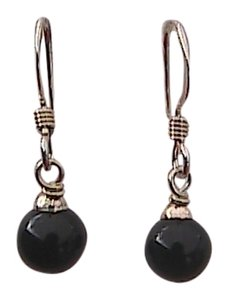 Other Sterling Silver Black Onyx Dangle Earrings (A6)