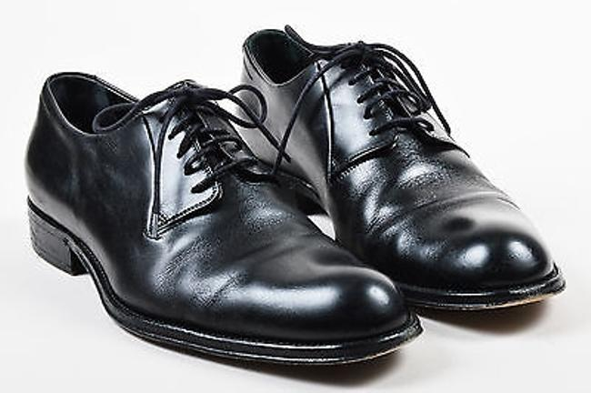 Item - Mens  Black Leather Round Toe Lace Up Dress Shoes 42.5