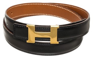 Hermès Hermes Gold Epsom and Black Box Leather Skinny Constance Belt (Size 75)