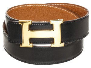 Herms Hermes Gold Epsom and Black Box Leather Constance Belt (Size 65)
