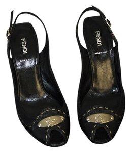 Fendi black / silver Wedges