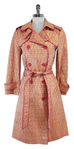 Marc Jacobs Pink Gold Brocade Trench Trench Coat