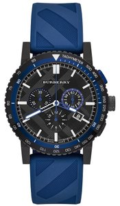 Burberry NWT Men's Swiss Chronograph The New City Sport Blue Rubber Strap BU9807