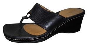 Rockport Leather Thong Wedge black Sandals