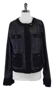 Tory Burch Black Textured Quilted Jacket