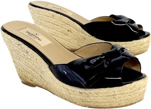 Valentino Black Patent Leather Espadrille Wedges