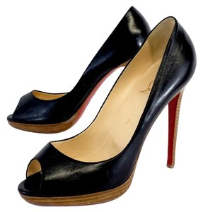 Christian Louboutin Black Leather Peep Toe Pumps