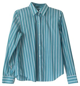 Chaps Button Down Shirt Blue with white and black pinstripes