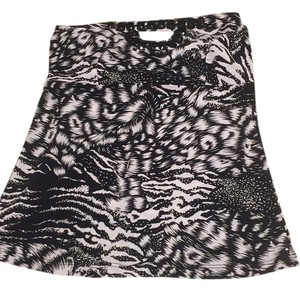 Guess Strapless Party Top Black and White Print