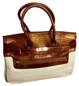 United Colors of Benetton Canvas Tote in White & Metallic Copper