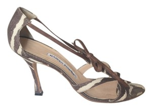 Manolo Blahnik Vintage Animal Print High Heel Brown & Cream Zebra Sandals
