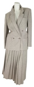 Joan & David Womens Joan David Brown Cream Wool Pleated Skirt Suit Jacket Size 8 Skirt Size 4