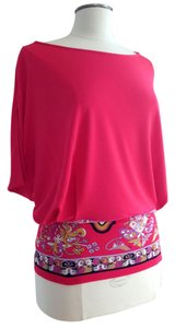 Emilio Pucci Vintage Print Batwing Poncho Top pink