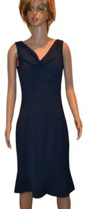 Tahari Navy Tulip Hem Dress