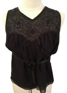 Cynthia Rowley Silk Beaded Top Black