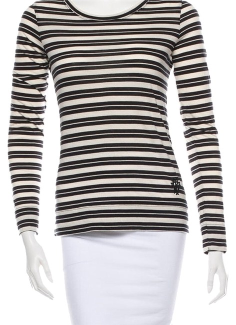 Item - Black and Cream Stripe Long Sleeve Tee Shirt Size 8 (M)
