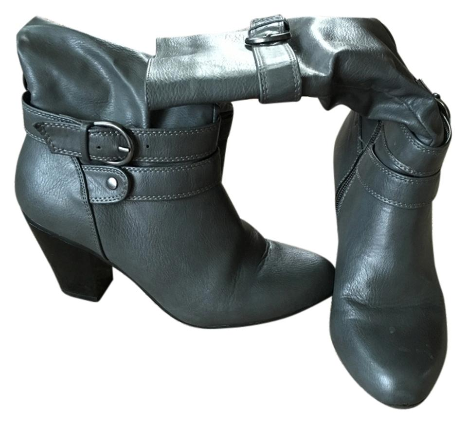 62dc9230fc9 Apt. 9 Grey Slouch Buckle Boots Booties Size US 6.5 Regular (M