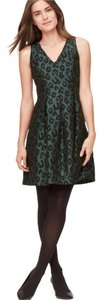 Ann Taylor LOFT Leopard Green Fit And Flare Evening Dress
