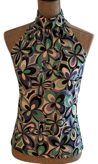 Item - Purple Green Black White Contemporary Small) Halter Top Size 6 (S)