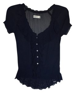 Abercrombie & Fitch Floral Peasant Lace Sheer Top Navy