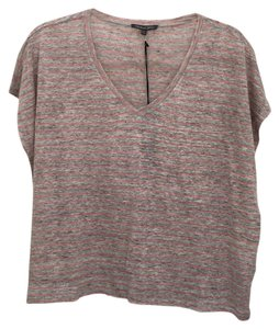 Michael Stars T Shirt Grey, pink, coral, stripe