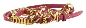 Miu Miu Miu Miu Red Metal Chain & Leather Belt, Size 85/34