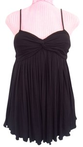 Catherine Malandrino Pleated Sweetheart Empire Waist Top Black