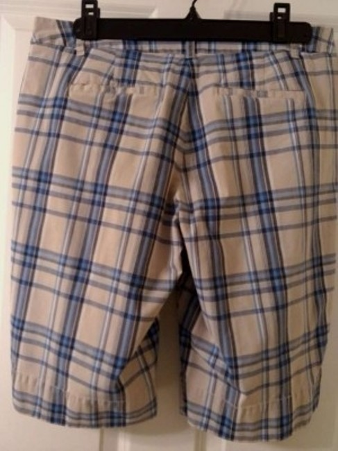 New York & Company Bermuda Shorts Beige/ blue plaid