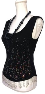 All About Eve Cashmere Crystal Beaded Stunning Dressy Top Black