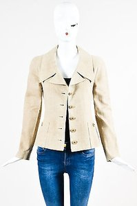 Chanel Vintage 94p Tan Linen Gold Tone Cc Button Beige Jacket