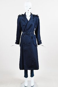 Chanel Navy Silk Camellia Applique Cc Button Ls Trench Trench Coat