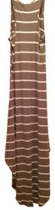 Maxi Dress by Lani Sumemr Straps Strips Brown Spring High Low Comfortable
